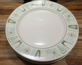 Set of 6 Taylorstone Cathay Dinner Plates, 1950s-1960s Mid Century plates