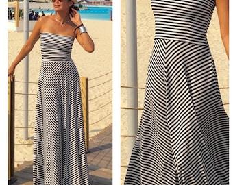 Black white dress, striped dress , strapless dress, long maxi dress, woman dress