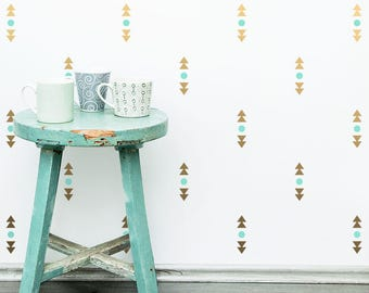 Geometric Wall Decals - Triangle Decals, Polka Dot Decals, 2-Color Vinyl Wall Decals, Modern Geometric Wall Decal Set