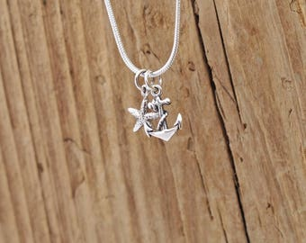 Sterling Silver Mountain Waves Sun Charm Necklace Surf Adventure Travel BzSCz