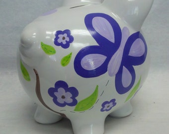 Personalized Piggy Bank CoCaLo Sugar Plum Butterflies