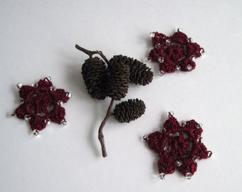 3 Crochet Beaded Flowers Mini - Burgundy Red with Clear Glass Beads - Set of 3