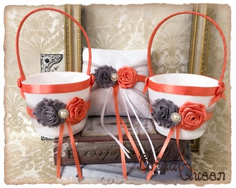 Flower Girl Baskets, Two Gray and Coral Flower Girl Baskets and Ring Pillow, Ring Bearer Pillow, Flower Girl Basket Set