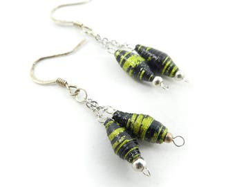 Vintage Paper Bead Earrings, Hooks, S82