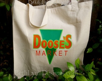 New LARGER SIZE! Doose's Inspired Canvas Shopping Bag
