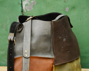 leather shoulder bag hobo bag LADYBUQ multicolor Alicja