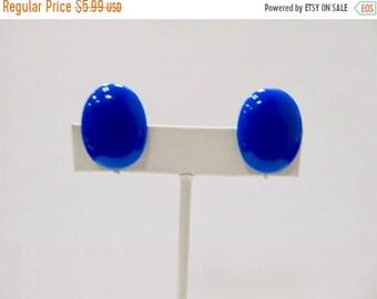 ON SALE Vintage Royal Blue Plastic Oval Earrings Item K # 1060