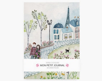 Notebook, Paris,  journal, diary, cat pattern, eiffel tower, A6, handmade, stationery, carnet, fleurs, gift, city, spring, papergoods, sale
