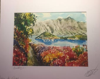 Bellagio. Lake Como. Acquarellata printing by hand. Watercolors Lake Como. Watercolorlakeitaly. Lakeitaly. Italianlandscape. Watercolorprint