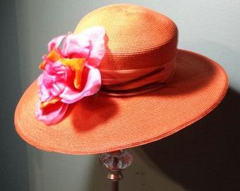 Orange Fuchsia Vintage Hat Georgeous Spring/Summer Wide Brimmed Hat