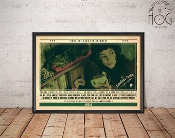 Amélie Poster - Le fabuleux destin d'Amélie Poulain Print - Quote Retro Movie Poster - Movie Print, Film Poster, Wall Art