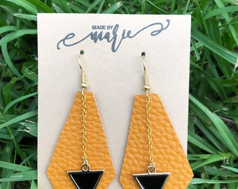 Leather and Triangle earrings