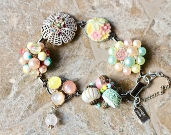 Bridesmaid Gift, Vintage Earring Bracelet, Multicolor, Pink, Aqua, Yellow, Green, Pastel, Upcycled, Under 40, Cluster, Jennifer Jones,  OOAK