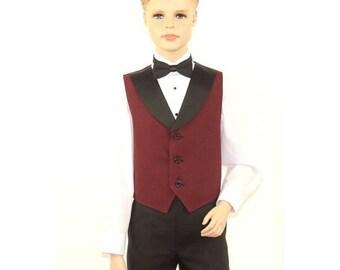 Kids Burgundy Full Back Tuxedo Vest with Black Lapel