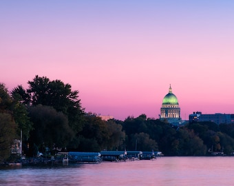 Madison Wisconsin Photography, Wisconsin State Capitol Building At Sunset