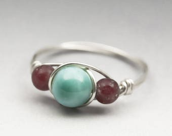 Larimar Blue Pectolite & Lepidolite Sterling Silver Wire Wrapped Bead Ring - Made to Order, Ships Fast!