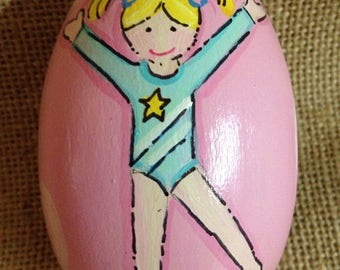 Gymnastics painted egg, wooden egg, handpainted, personalized