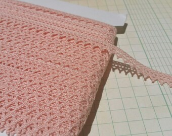 "Pink Cluny Lace - Pointed Delicate Edge - Sewing Torchon Crochet Trim - 7/16"" Wide"