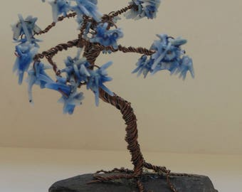 Blue Coral Wire Wrapped Tree Sculpture On Slate ~ Gemstone Crystal Healing ~ Hand Crafted Ooak