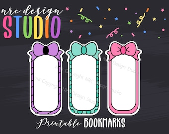 SALE Printable Bookmarks, Planner Die Cuts, Planner Bookmarks, Page Marker, Bows, Journal, Notebook, Planner Accessories