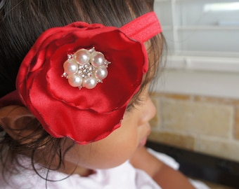 Red Fabric Flower Headband, Infant Girl Headband, Newborn Girl Headband, Baby Girl Headband, Women Hair clip/Headband
