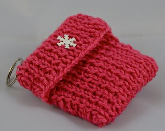 Bright Pink Keychain, Reward Card Wallet, Gift Card Holder, Girls Keychain Purse, Hot Pink Tea Tote, Valentines Gift for Her