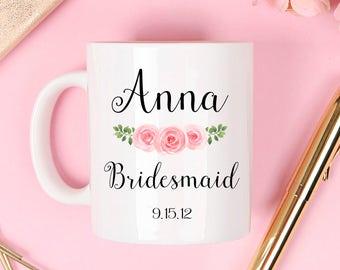 Bridesmaid mug, bridesmaid coffee mug, bridesmaid gift, maid of honor mug, bridal party mugs, bridesmaid gift