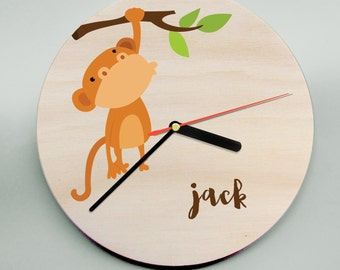Monkey Clock / Personalised Clock / Personalized Wooden Clock / Kids Clock / Childrens Wall Clock
