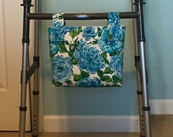 Blue Floral Walker or Wheelchair or Rollator Hanging Tote Bag