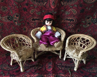 Wicker doll chair set/2 wicker arm chairs/wicker love seat/barbie wicker chair set/natural wicker chairs