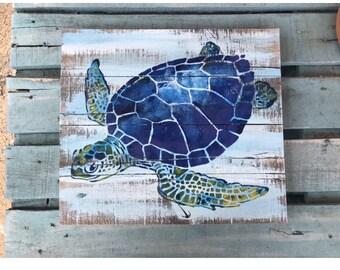 Sea Turtle Pallet Wood Art, Reclaimed wood art, Ocean art, Marine art, Green turtle wall art, Coastal Decor