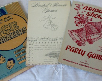Vintage Original 1950s Bridal Shower Games & Ice Breakers Party Games  Made by Art Embossed Party Accessories Los Angeles Ca.
