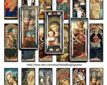 1 x 3, Madonna and Child, religious collage sheets,  INSTANT  Download, Catholic, religious images,Madonna,slide pendants