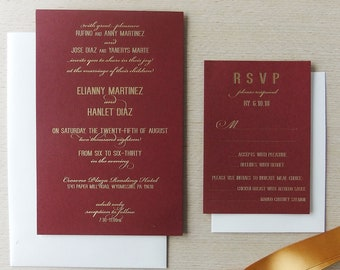 Burgundy and Gold Foil Invitation - Fall Wedding Invite - Wine Wedding - Marsala Wedding - Navy Wedding - Bat Mitzvah