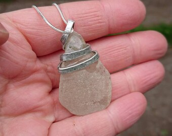 Simple seaglass pendant. Silver and seaglass pendant. Wrapped seaglass pendant. Green,aqua,sea glass. Handmade jewellery. Eco, sustainable.