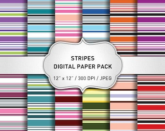 Striped Digital Paper Pack, Digital Paper Stripes, Stripes Background, Scrapbooking Paper, Geometric Digital Paper, Instant Download