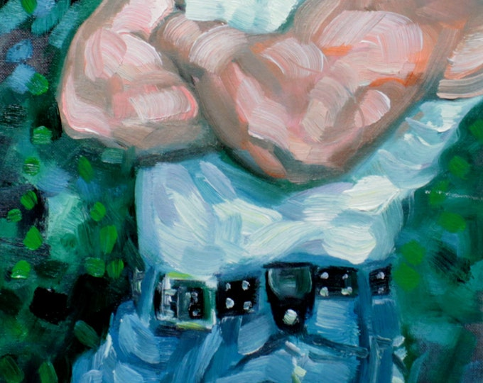 Blue Jean Bear, oil on canvas panel, 11x14 inches by KennEy Mencher