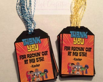 teen titans go thank you tags/ party tags