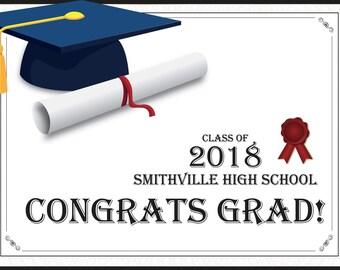 Personalized Congratulations Graduation poster, Congrats Grad , school graduation Decor, University Grads Poster, Class of 2018 ;10000331