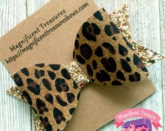Leopard Print Gold Glitter Hair Bow - Gold Glitter and Cheetah Print Hair Clip - Girl Glitter Clippie - Baby Bow - Toddler Barrette
