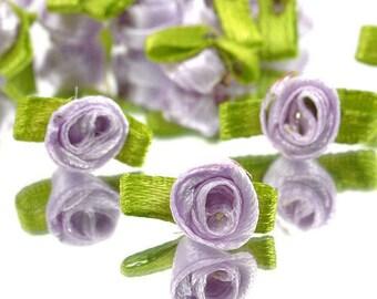 10mm Lavender Satin Ribbon roses w/leaves-25 ea.