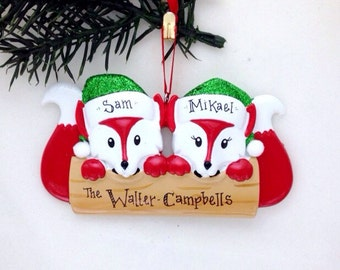 Fox Couple Personalized Christmas Ornament / Couple Ornament / 2 Foxes / First Christmas
