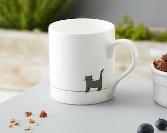 Standing Cat Mug, Grey Cat Mug, Cat Lover Gift, Fine Bone China Mug, Crazy Cat Lady Mug