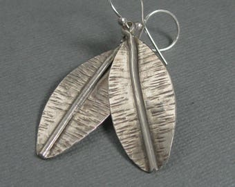 Sterling leaf drop earrings, patterned leaf design dangle earrings metalsmith jewelry