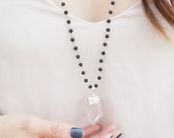 LAVA ROCK diffuser jewelry for essential oils - CRYSTAL quartz wire wrapped lava mala necklace