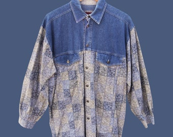 PLATOON vintage shirt, denim and light flowers pattern 80s 90s XL