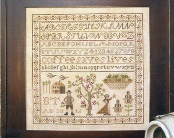 Coffee Saves Lives by Heartstring Samplery Counted Cross Stitch Pattern/Chart