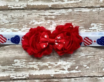 JULY 4th Infant/Children's Headband: Red Chiffon flowers on a patriotic heart stretch headband Infant, Toddler, Children's, Girl's