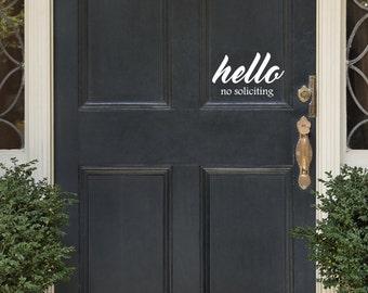 No Soliciting Door Decal Hello