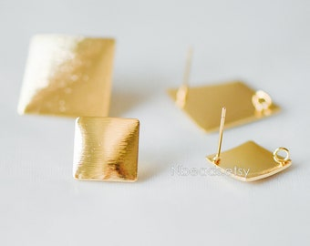 Brushed Gold Square Ear Posts 13/ 19mm, Real Gold Plated Brass Geometric Earrings (GB-278)/ 10pcs =5 pairs
